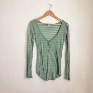 free people blouse green striped casual size:S
